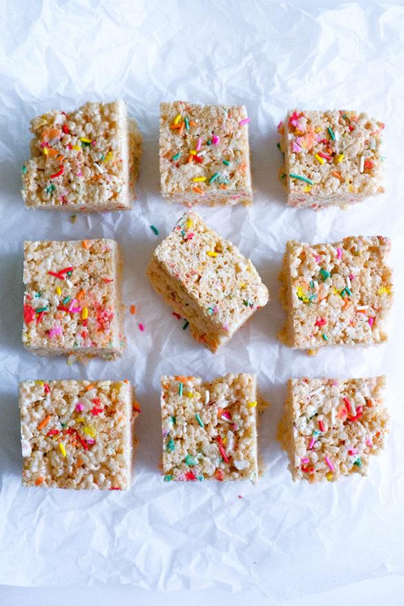 Fabulous Birthday Cake Funfetti Rice Krispie Treats One Happy Bite Funny Birthday Cards Online Elaedamsfinfo